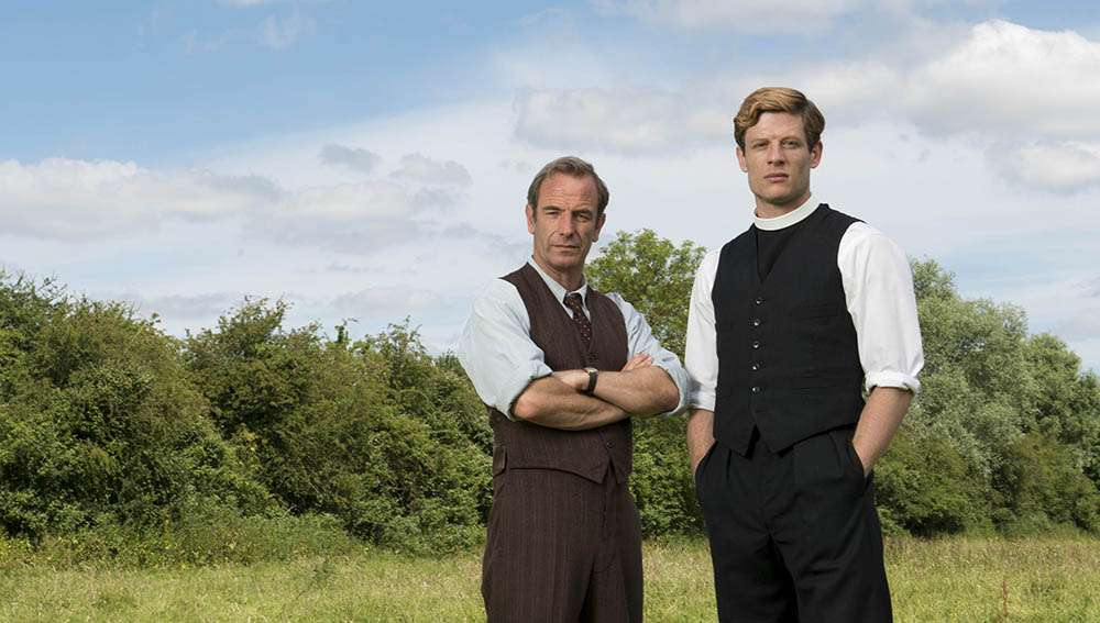 LOVELY DAY PRODUCTIONS  GRANTCHESTER  EPISODE 1   Picture shows:  JAMES NORTON as Sidney Chambers and ROBSON GREEN as Geordie Keating.  © ITV  All images are Copyright ITV and may only be used in relation to GRANTCHESTER.  For more info please contact Pat Smith at patrick.smith@itv.com or 0207157 3044